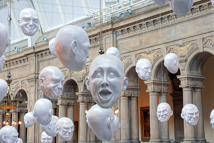 Hanging heads exhibit at Kelvingrove Art Gallery
